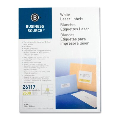 "Business Source Mailing Labels, Shipping, Laser, 2""x4"", 2500 per Pack, White"