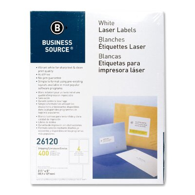 "Business Source Mailing Labels,Shipping,Laser,3-1/2""x5"",400 per Pack,White"