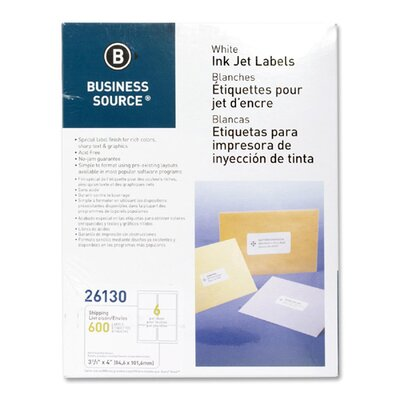 Business Source Mailing Labels, Shipping, Inkjet, 3-1/3&quot;x4&quot;, 600 per Pack, White