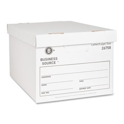 "Business Source Storage Boxes, Letter/Legal, 12""x15""x10"", White, 12-Pack"
