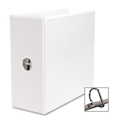 "Business Source D-Ring Binder, w/ Pockets, 5"" Capacity, White"