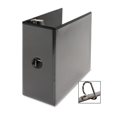 """Business Source D-Ring View Binder, 5"""" Capacity, 11x8-1/2"""", Black"""