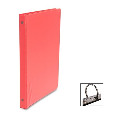 "Business Source Round Ring Binder, w/ Pockets, 1/2"", Red"