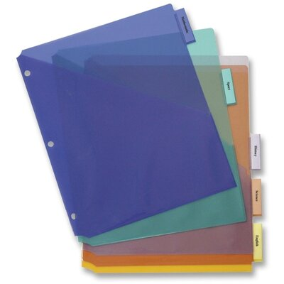 "Business Source Poly Index Dividers, w/ Pocket, 8-1/2""x11"", 5-Tab, Multi"