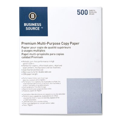Business Source Multipurpose Paper, 20lbs, 92 Bright, 3HP, Letter, 10 Reams per Box, White