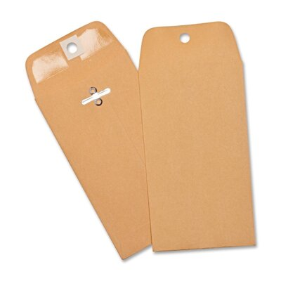 "Business Source Heavy-duty Clasp Envelopes,3-3/8""x6"",100 per Box,Brown Kraft"
