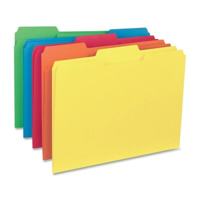 Business Source Interior File Folders, 1/3 Cut Assorted, Letter,1 00 per Box, Assorted