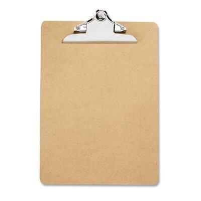 "Business Source Hardboard Clipboard, Nickel-Plated Clip, 9""x12-1/2"", Brown"