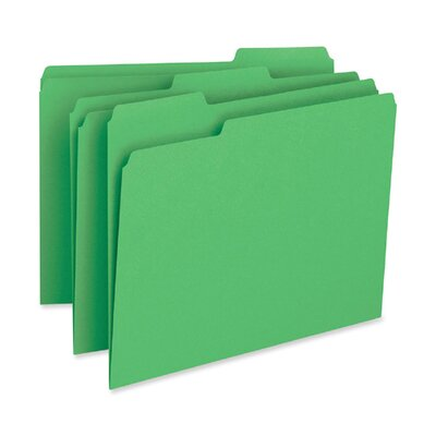 Business Source File Folder, 1-Ply, 1/3 Cut Assorted Tabs, Letter, 100 per Box, Green
