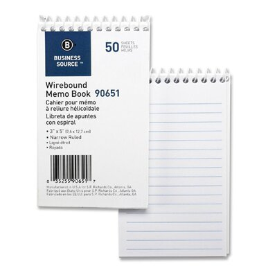 Business Source Wirebound Memo Book, End Spiral, 50 Sheets, 3&quot;x5&quot;, White, 12-Pack