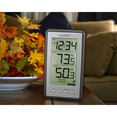 La Crosse Technology Wireless Indoor/Outdoor Thermometer with Digital Time Display