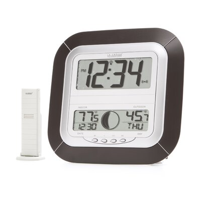 Atomic Digital Wall Clock with Moon Phase & Indoor/Outdoor Temperature
