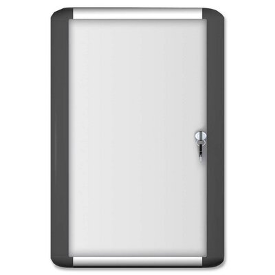 Bi-silque Visual Communication Product, Inc. Acrylic Enclosed Magntc Dry-erase Boards, w/Lock/Key, 2'x3', White Board/Aluminum Frame