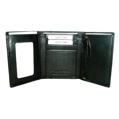 Kozmic Leather Trifold Wallet in Black