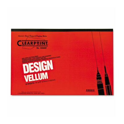 ClearPrint Clearprint Design Vellum Paper, 16Lb, 50 Sheets/Pad