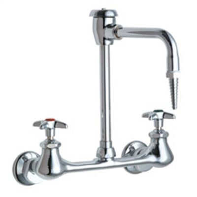 Laboratory Wall Mounted Faucet with Vacuum Breaker Spout and Double Cross Handle