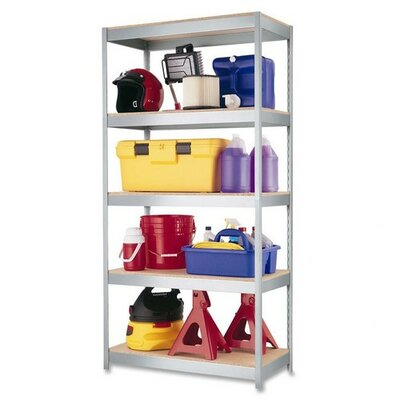 "Hirsh Industries 2,400 lb Cap. Industrial Shelving Unit, 36""x18""x72"", Silver Metal"