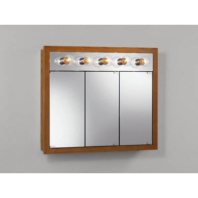 Surface Mount Cabinet with Five Bulbs in Honey Oak