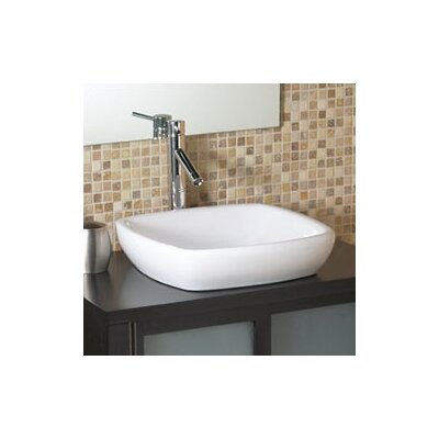 DecoLav Classically Redefined Square Semi-Recessed Ceramic Vessel Bathroom Sink