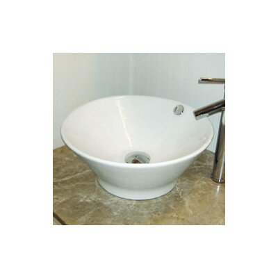 Classically Redefined Round Ceramic Vessel Bathroom Sink with Overflow - 1435-CWH