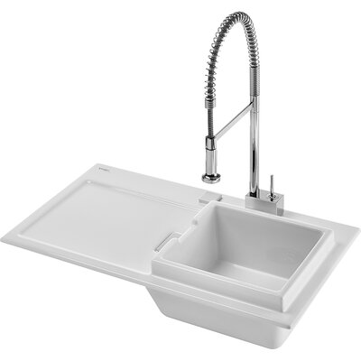 "Duravit Starck K 37.4"" x 21.8"" Drop In Kitchen Sink with Right Bowl"