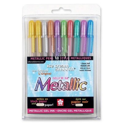 Sakura of America Gel Pen,Water/Fade Proof,1.0mm,Med. Line,10/PK,Metallic Ast.