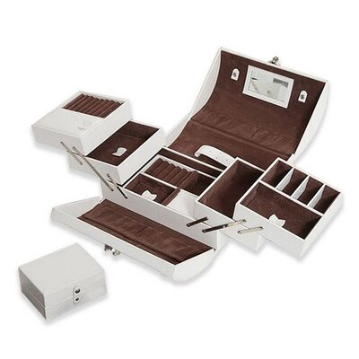 Expandable White Leather Jewelry Box With Takeaway Case