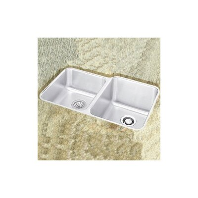"Elkay Lustertone 31.25"" x 20.5"" Double Bowl Undermount Kitchen Sink with Reveal Rim"