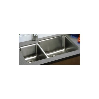 "Elkay 35.25"" x 20.5"" Undermount Double Bowl 18 Gauge Kitchen Sink"