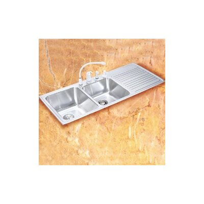 "Elkay Gourmet 43"" x 22"" x 10"" 3-Hole Self Rimming Double Bowl Kitchen Sink with Left Handed"