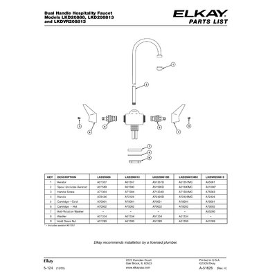 Elkay Deck Mount Double Handle Centerset Bar/Hospitality Faucet