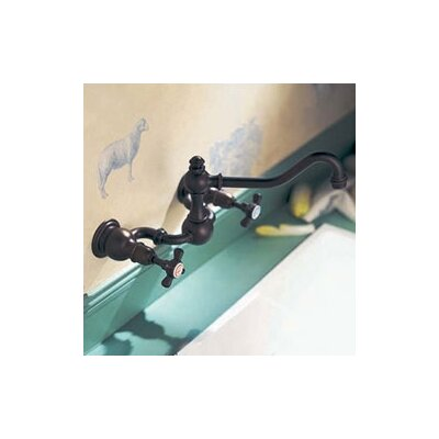 Herbeau Royale Wall Mounted Bathroom Faucet with Double Cross Handles
