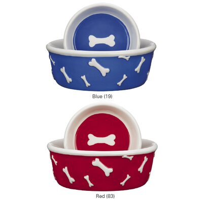 Pet Studio Blue Ribbon Bone Dog Dish