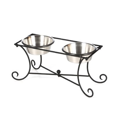 Wrought Iron Dog Diner with Two Bowls