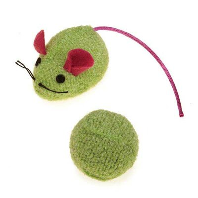 Savvy Tabby Knit Mouse and Rattle Ball Cat Toy (2 Pack)