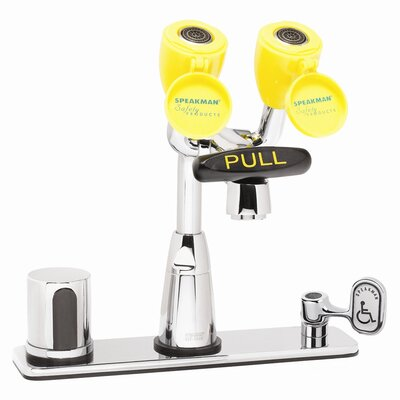 "Speakman Eyesaver Centerset Faucet with 8"" Deck Plate, Optional Thermostatic Mixing Valve, Manual Override and Ac Powered"