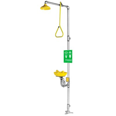 Speakman Safe-T-Zone Floor Mount  Combination Shower with Abs Bowl, Deluge Showerhead and Pull Rod