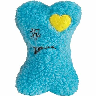 Zanies Embroidered Berber 8&quot; Bone Dog Toy in Blue