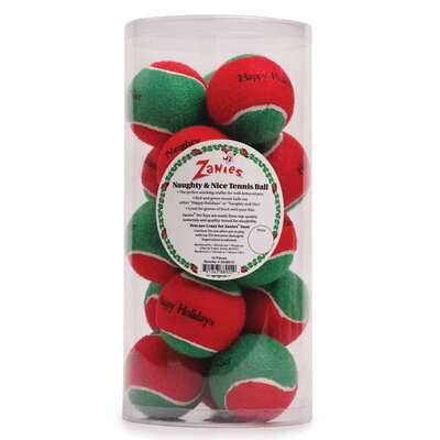 Zanies Naughty and Nice Tennis Ball Dog Toy Canister (15 Pieces)