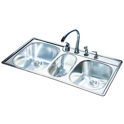 "FrankeUSA 43"" x 22""  20 Gauge Triple Bowl Kitchen Sink"