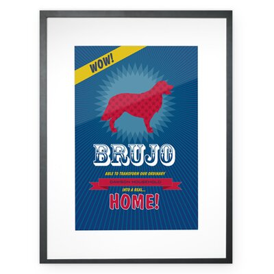 Checkerboard, Ltd Personalized Superhero Golden Retriever Framed Graphic Art
