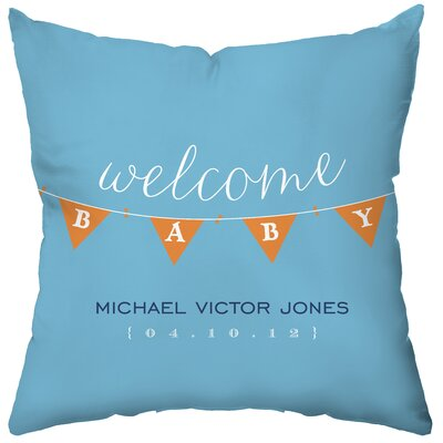 Checkerboard Personalized Baby Banner Poly Cotton Throw Pillow