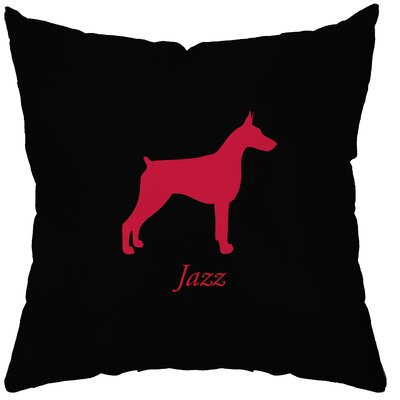 Checkerboard Personalized Doberman Polyester Throw Pillow