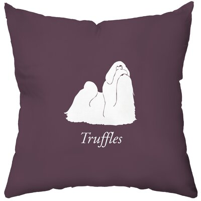 Checkerboard Personalized Shih Tzu Poly Cotton Throw Pillow