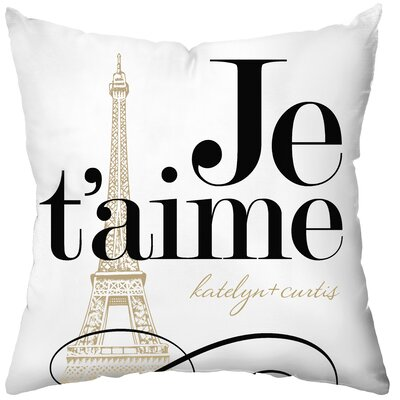 Checkerboard, Ltd Personalized Je'taime Poly Cotton Throw Pillow