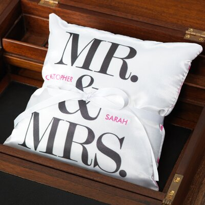 Checkerboard Personalized Mr and Mrs Ring Pillow