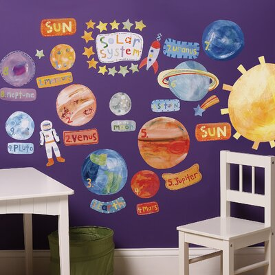 Wallies Solar System Interactive Vinyl Peel and Stick Wall Play Mural