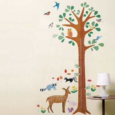 Wallies Woodland Growth Chart Interactive Vinyl Peel and Stick Wall Play Mural