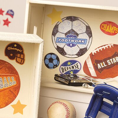 Wallies Sports Stamps Peel and Stick Vinyl Decals