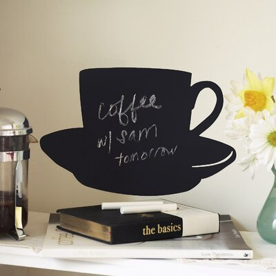 Wallies Cup and Saucer Chalkboard Accent Vinyl Peel and Stick